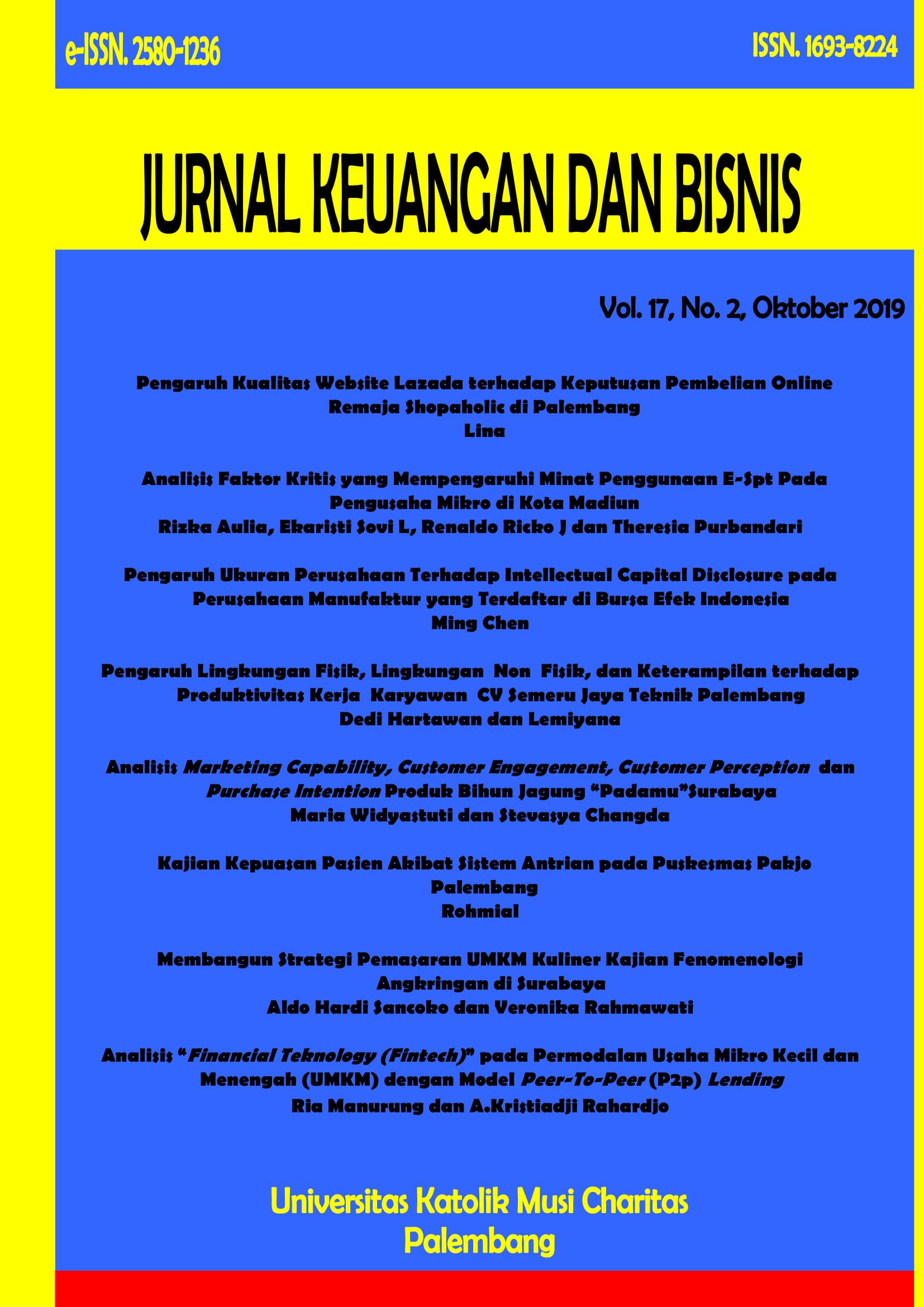 View Vol. 17 No. 2 (2019): Jurnal Keuangan dan Bisnis Volume 17 No. 2, Edisi Oktober 2019